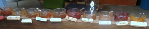 samples of jams/jellies made locally on farmland